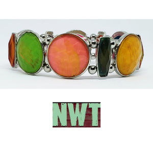 Stretchy Colorful Silver Bracelet NWT
